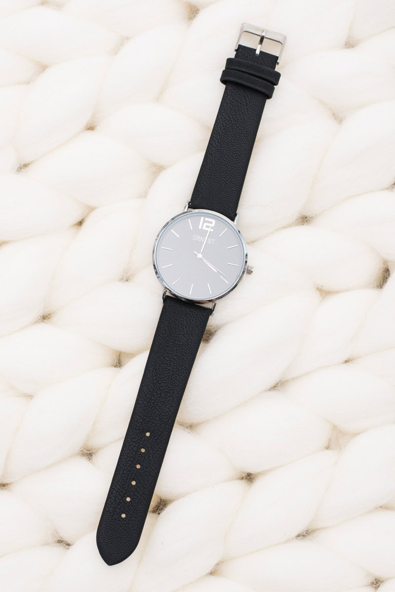 Stylish Leather Black Women Ernest Watch